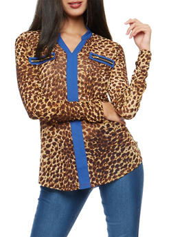 Leopard Print Shirt with Contrast Trim - 3034067330243