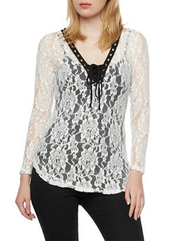 Long Sleeve Lace Tunic Top with Lace-Up Neckline - 3034067331846