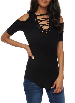 Cold Shoulder Ribbed Knit Lace Up Top - 3035015991407