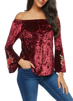 Crushed Velvet Off the Shoulder Top - 3035015991944