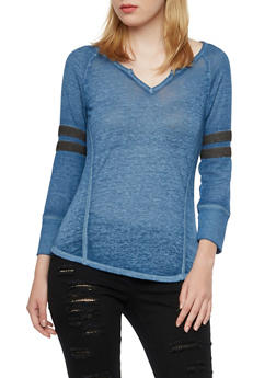 Knit Top with Striped Waffle-Knit Sleeves - 3035015995572