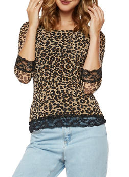 Printed Mesh Top with Lace Trim - 3035015995853