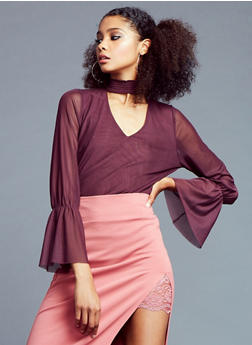 Mesh Top with Bell Sleeves - 3035015997750