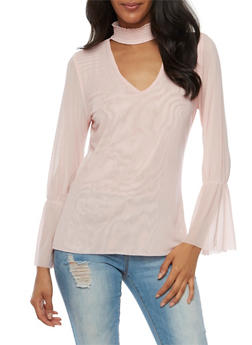 Mesh Top with Bell Sleeves - BLUSH - 3035015997750