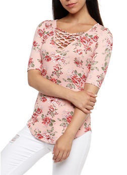 Floral Caged V Neck Top - 3035015997901
