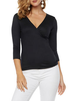 Soft Knit Faux Wrap Top - 3035015998650