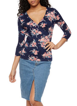 Floral Faux Wrap Top - 3035015998651