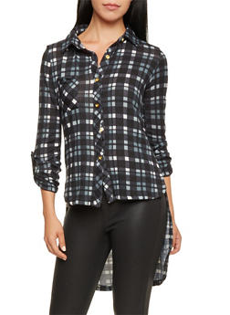Plaid Knit Button Front High Low Tunic Top - 3035038341326