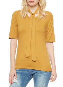 Brushed Knit Tie Neck Top - GOLD - 3035038341360