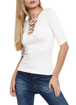 Short Sleeve Caged Front Ribbed Knit Top - IVORY - 3035038342009