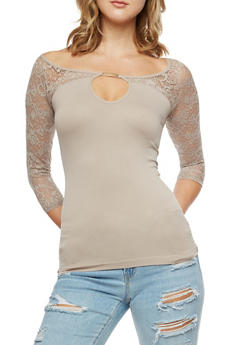 Seamless Lace Yoke Shirt with Keyhole - 3035038342041