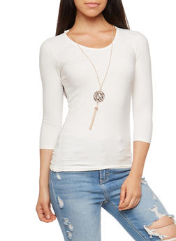 Knotted Keyhole Back Top with Necklace - 3035038342303