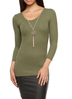 Knotted Keyhole Back Top with Necklace - GREEN - 3035038342303
