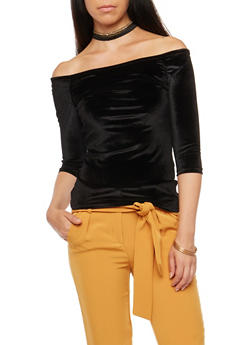 Off the Shoulder Velvet Top with Choker - BLACK - 3035038342461