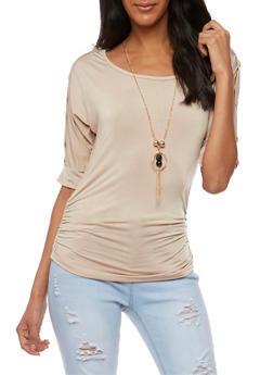 3/4 Button Sleeve Top with Ruched Sides - 3035038347185