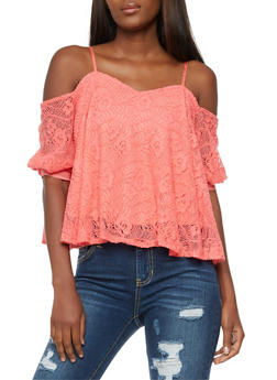 Crocheted Off the Shoulder Tie Sleeve Top - 3035058750024