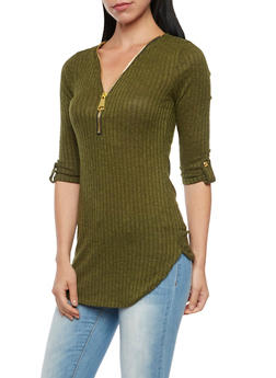 Ribbed Top with Zipper V Neck and Tab Sleeves - OLIVE - 3035058750082