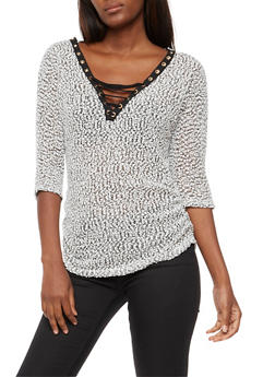 Textured Knit Lace Up Top - 3035058750118