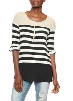 Striped Top with Color Block Crepe Paneling - 3035058754233
