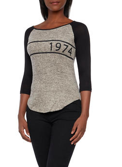 Raglan Sleeve Top with 1974 Graphic - 3035058755701