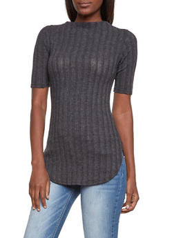 Ribbed Top with Mock Neck - 3035058756249
