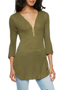 Textured Tunic Top with Zip Front - OLIVE - 3035058756319
