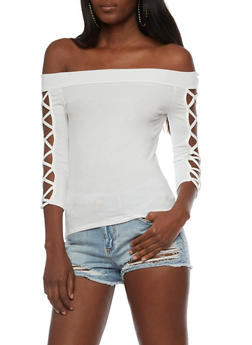 Off the Shoulder Top with Caged Sleeves - WHITE - 3035058758887