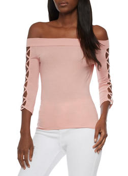Off the Shoulder Top with Caged Sleeves - MAUVE - 3035058758887