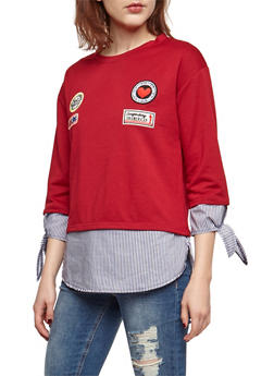 Long Sleeve Top with Patches and Striped Underlay - 3035067330113