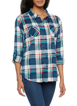 Knit Button Up Shirt in Plaid - 3035067338045