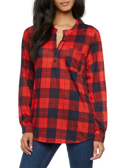 Popover Top in Plaid - 3035067338046