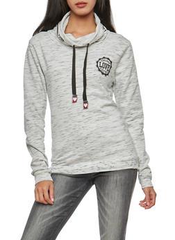 Love Graphic Marled Print Cowl Neck Sweatshirt - 3036033870012