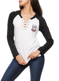 Long Sleeve Love Republic Lace Up Hooded Top - 3036033871623