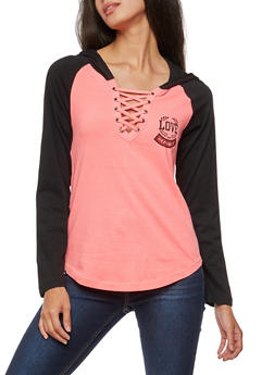 Long Sleeve Love Republic Lace Up Hooded Top - NEON PINK/BLK - 3036033871623