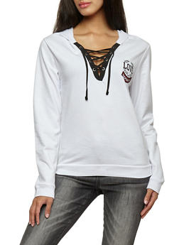 Lace Up Love Graphic Hoodie - 3036033872540