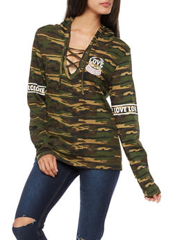 Long Sleeve Camo Graphic Lace Up Hooded Top - 3036033873251