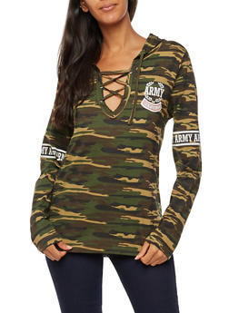 Long Sleeve Army Republic Graphic Camo Lace Up Top - 3036033873252