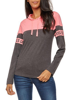 Long Sleeve Love Graphic Hooded Top - 3036033875061