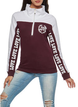 Love Graphic Color Block Hoodie - 3036033878291
