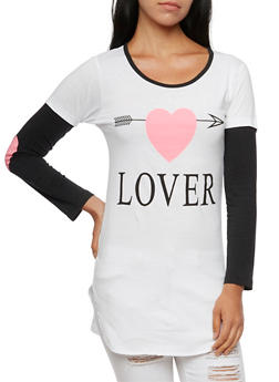 Tunic Top with Layered Sleeves and Lover Graphic - 3036033878990