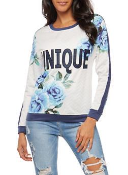 Unique Graphic Chevron Stitched Floral Top - 3036038340408
