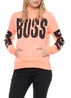 Graphic Hoodie with Boss Print - 3036038341420