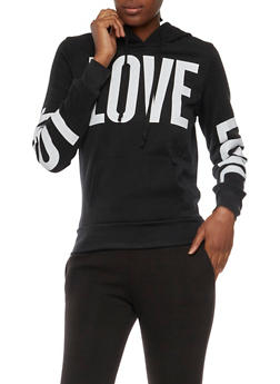 Fleece Lined Hoodie with Love Graphics - BLACK - 3036038341421