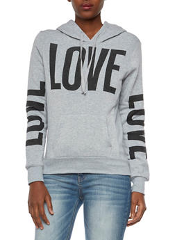 Fleece Lined Hoodie with Love Graphics - 3036038341421