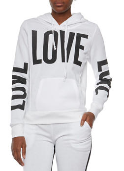 Fleece Lined Hoodie with Love Graphics - WHITE - 3036038341421