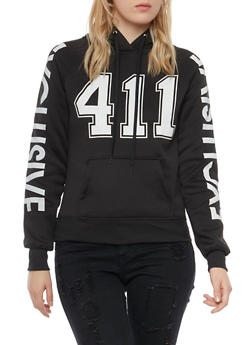 Graphic Hoodie with 411 and Exclusive Prints - BLACK - 3036038341422