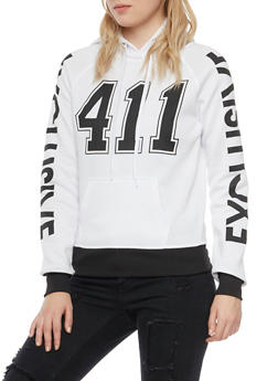 Graphic Hoodie with 411 and Exclusive Prints - WHITE - 3036038341422