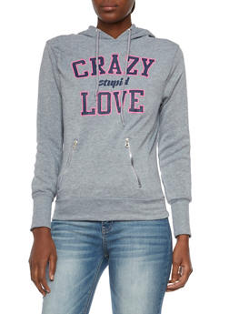 Hoodie with Crazy Stupid Love Graphic - 3036038341425