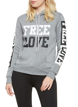 Fleece Hoodie with Free Love Graphic - 3036038341429