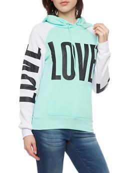 Color Block Hoodie with Love Print - 3036038341442